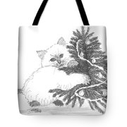 Kitten And Christmas Tree Tote Bag