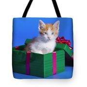 Kitten In Gift Box Tote Bag