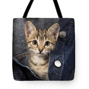 Kitten In Jean Jacket Tote Bag