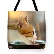 Kitten Licking Up Her Milk Tote Bag