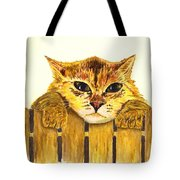 Kitten On Fence Tote Bag