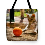 Kitten With Ball Tote Bag