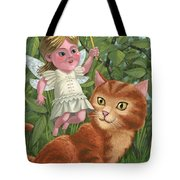 Kitten With Girl Fairy In Garden Tote Bag