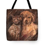 Kitten And Golden Retriever Pup Tote Bag