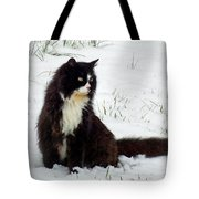 Kitty Cat In The Snow Tote Bag