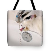 Kitty Likes Those Water Drops Tote Bag