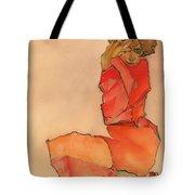 Kneeling Female In Orange-red Dress Tote Bag