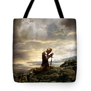 Kneeling Knight Tote Bag