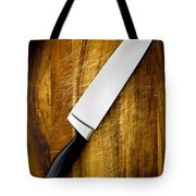 Knife On Chopping Board Tote Bag