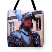 Knight In Full Armor During Parade Tote Bag