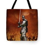Knight In Shining Armour On A Medieval Battlefield Tote Bag