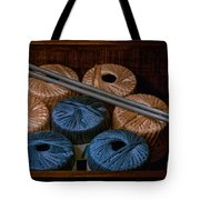 Knitting Yarn In A Wooden Box Tote Bag