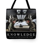 Knowledge Inspirational Quote Tote Bag