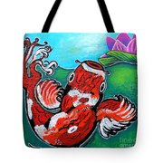 Koi Fish And Water Lily Tote Bag