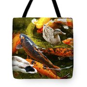 Koi Fish In Pond Swimming With Two Mallard Ducks Tote Bag