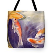 Koi In A Lily Pond 11 Tote Bag