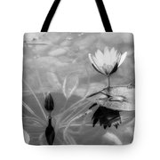 Koi Pond With Lily Pad Flower And Bud Black And White Tote Bag