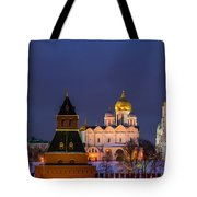 Kremlin Cathedrals At Night - Featured 3 Tote Bag
