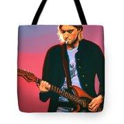 Kurt Cobain In Nirvana Painting Tote Bag