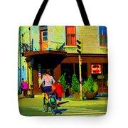Kusmi Tea And Sandwich Shop St Viateur Corner St Urbain Montreal Summer City Scene  Carole Spandau Tote Bag