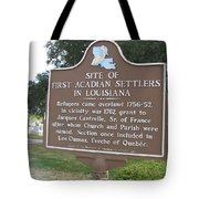 La-029 Site Of First Acadian Settlers In Louisiana Tote Bag