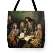 La Barre And Other Musicians, C.1710 Oil On Canvas Tote Bag