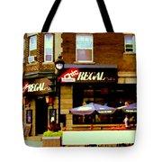 La Chic Regal Taverne Au Coin Rue Centre Et Charlevoix Pointe St Charles Scene De Rue Carole Spandau Tote Bag