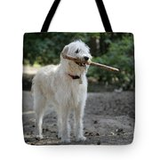 Labradoodle Holding Stick Tote Bag