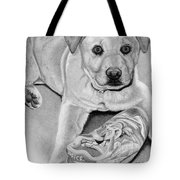 Sneaker Snatcher- Labrador And Chow Chowx Mix Tote Bag