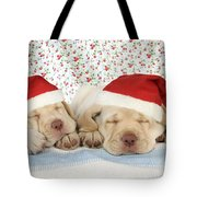Labrador Puppy Dogs Wearing Christmas Tote Bag