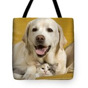 Labrador With Cat Tote Bag