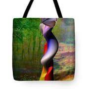 Lady At The Pond With Butterfly Tote Bag
