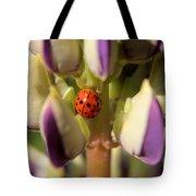 Lady Bug On Lupine Tote Bag