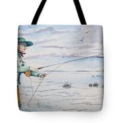 Lady Fly Fishing Tote Bag