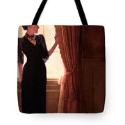 Lady In Black By Window Tote Bag