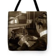 Lady In Early Kitchen Cooking Turkey Dinner 1900 Tote Bag