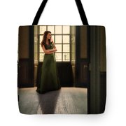 Lady In Green Gown By Window Tote Bag