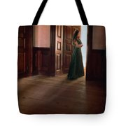 Lady In Green Gown In Doorway Tote Bag by Jill Battaglia