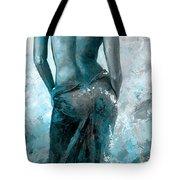 Lady In Red #27 Digital Colored Version Blue Aqua Tote Bag