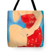 Lady In Red Tote Bag by Don Larison