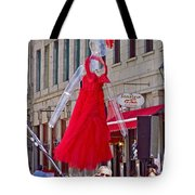 Lady In Red Watching Filming Of Today Show In Old Montreal-qc Tote Bag