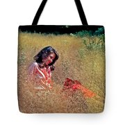 Lady In The Grass -horiz Tote Bag