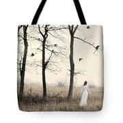 Lady In White In Autumn Landscape Tote Bag