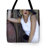 Lady In White Palm Springs Tote Bag