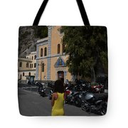 Lady In Yellow By The Church Of San Francesco Maiori Italy Tote Bag