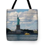 Lady Liberty And Water Taxi Tote Bag