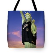 Lady Liberty Dressed Up For The Nba All Star Game Tote Bag by Susan Candelario