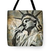 Lady Liberty Vintage Tote Bag by Delphimages Photo Creations