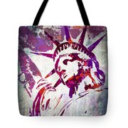 Lady Liberty Watercolor Tote Bag by Delphimages Photo Creations