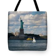 Lady Liberty With Sailboat And Water Taxi Tote Bag